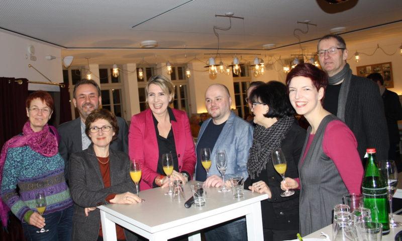 Simone Peter beim Neujahrsempfang von BÜNDNIS 90/DIE GRÜNEN Kreisverband Herford 2017 mit Maik Babenhauserheide, Britta Haßelmann, Wibke Brems